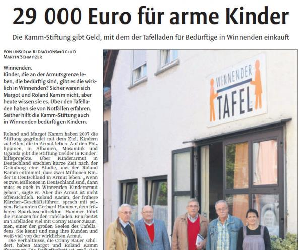 Zeitungsbericht der Winnender Zeitung über die Kamm-Stiftung
